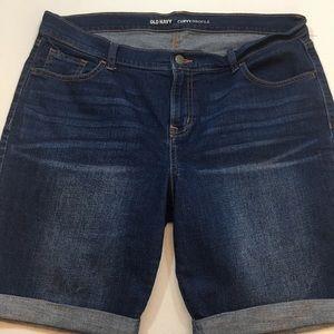 Old Navy curvy profile cuffed Bermuda denim shorts